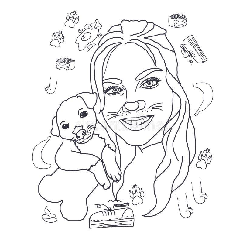 Desenho colorindo, linear, menina com um cão, retrato, para colorir, desenho bonito, moça bonita e um cachorrinho pequeno ilustração royalty free