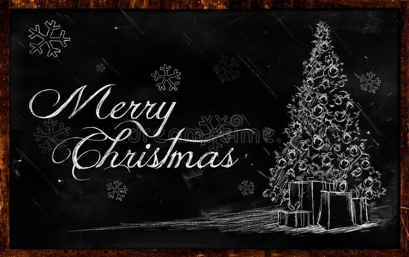 Desenho da árvore do Feliz Natal no quadro-negro ilustração stock