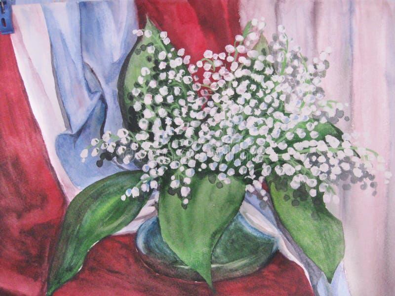 Desenho da aguarela Vaso com um ramalhete das flores ilustração stock