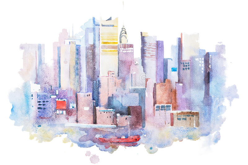 Desenho da aquarela da arquitetura da cidade de New York, EUA Pintura do aquarelle de Manhattan ilustração royalty free