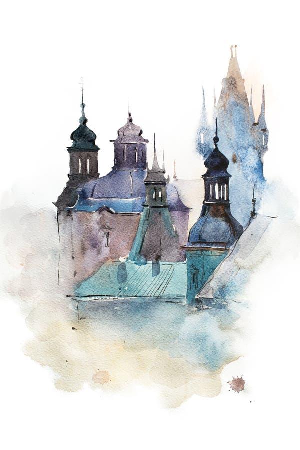 Desenho da aquarela da arquitetura da cidade, pintura tirada mão do aquarelle ilustração royalty free