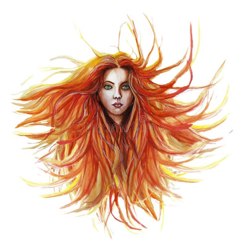 Desenho da aquarela de uma menina ruivo, onde o cabelo se torne no vento em um revestimento verde em um lenço lilás, com olhos ve fotos de stock royalty free