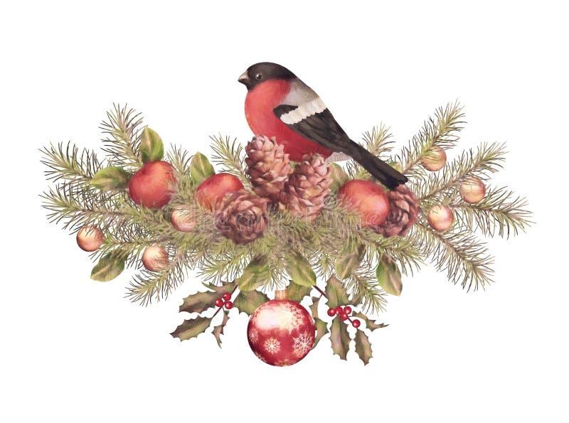 Desenho da aquarela do Feliz Natal ilustração do vetor