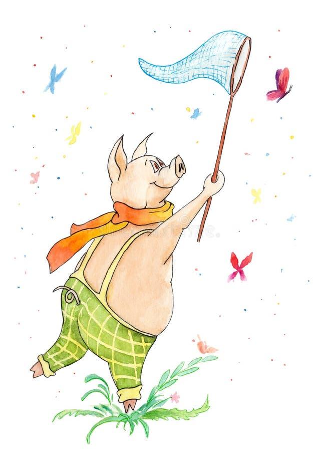 Desenho da aquarela do porco com uma rede da borboleta e das borboletas ilustração royalty free