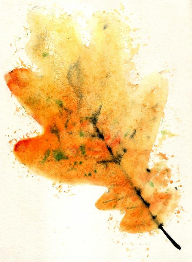 Desenho da aquarela da folha do outono ilustração royalty free