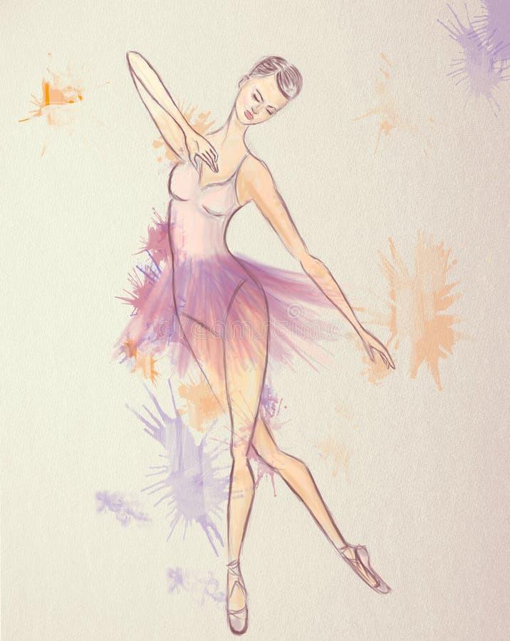 Desenho da bailarina Executor bonito da dança do bailado ilustração stock