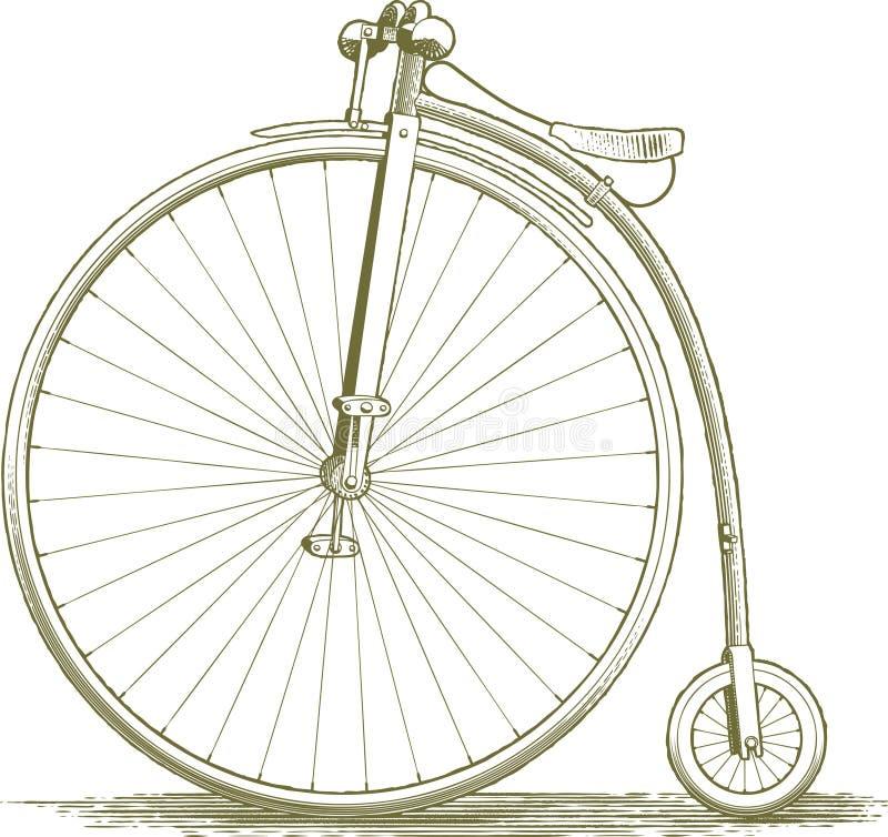 Desenho da bicicleta do vintage do bloco xilográfico ilustração do vetor