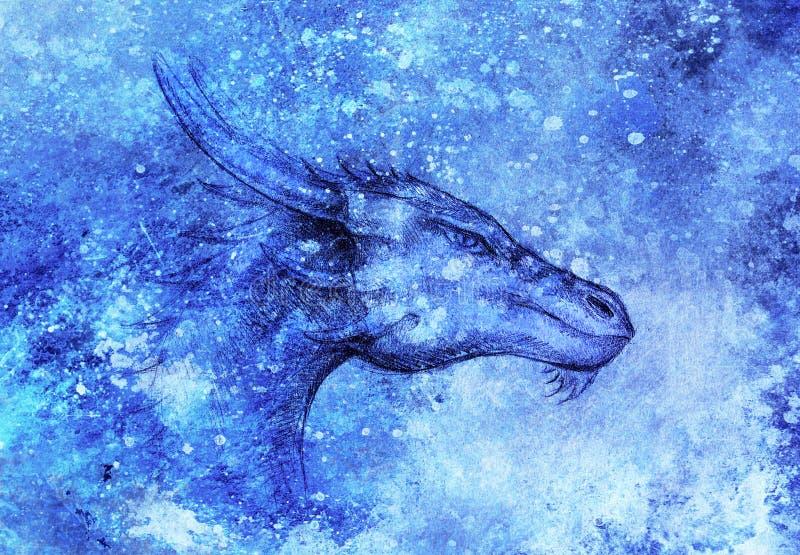 Desenho da cabeça do dragão no fundo abstrato Retrato do perfil ilustração stock