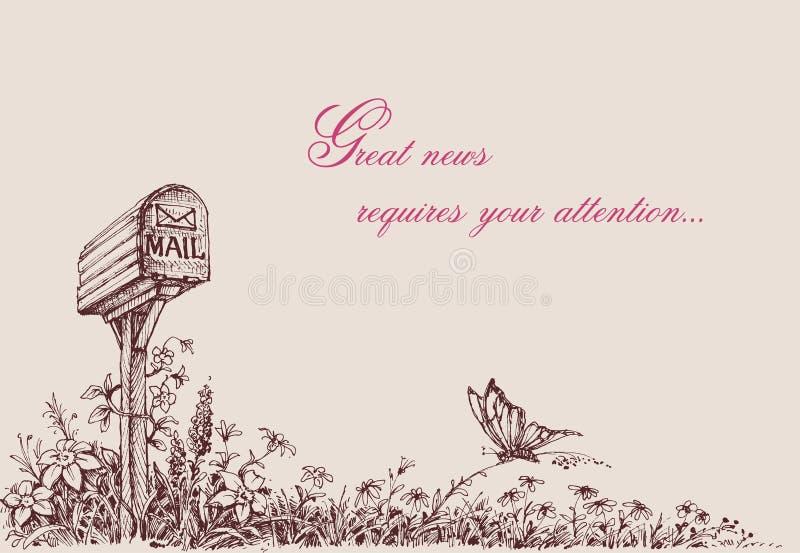 Desenho da caixa postal ilustração royalty free