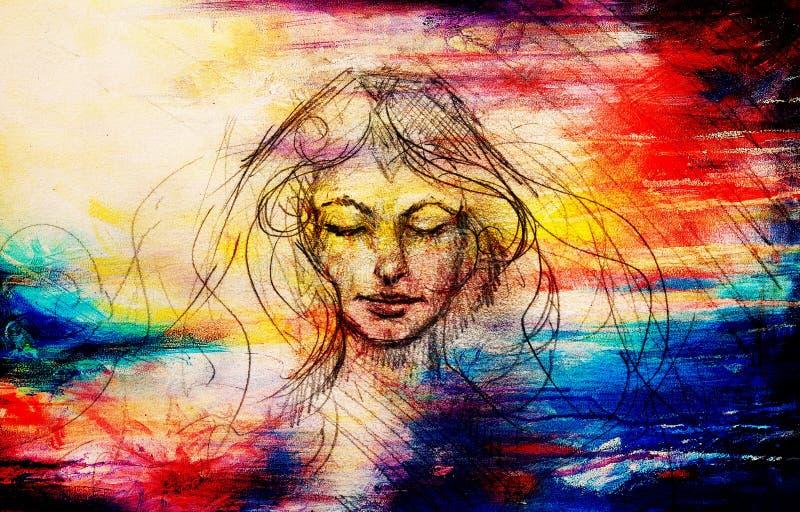 Desenho da cara contemplativa bonita da mulher no fundo abstrato ilustração royalty free