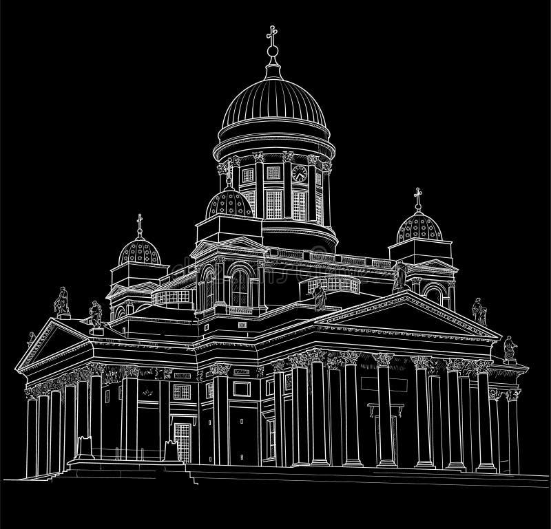 Desenho da catedral ilustração stock