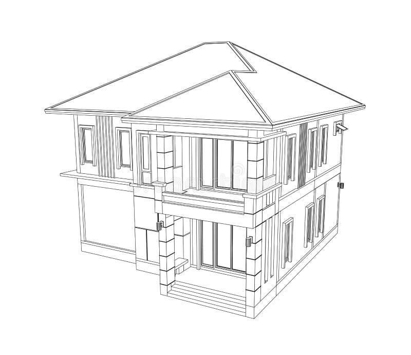Desenho da construção de casas 3D ilustração royalty free