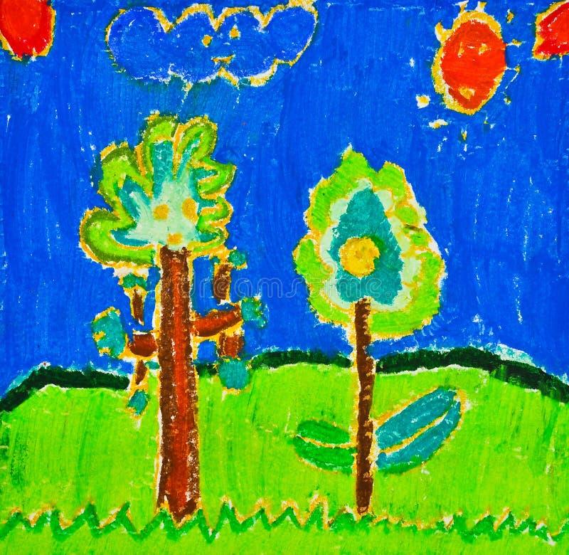 Desenho da criança da árvore ilustração royalty free