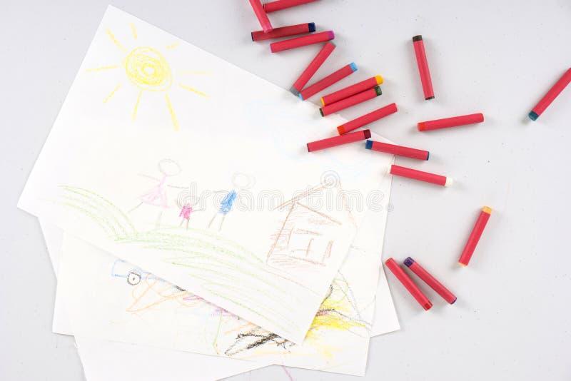 Desenho da criança da família feliz fotografia de stock royalty free