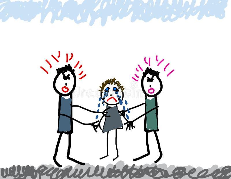 Desenho da criança da luta dos pais