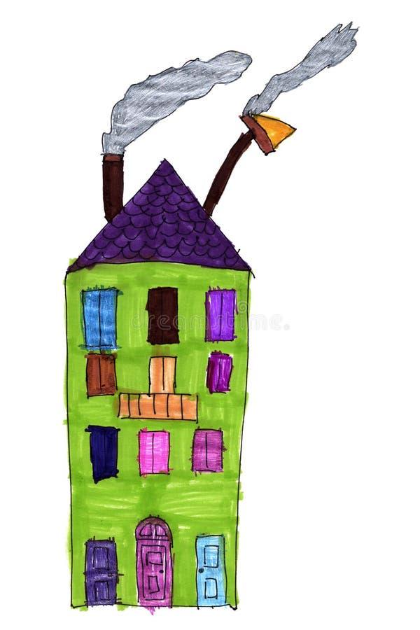 Desenho da criança de um condomínio fotografia de stock