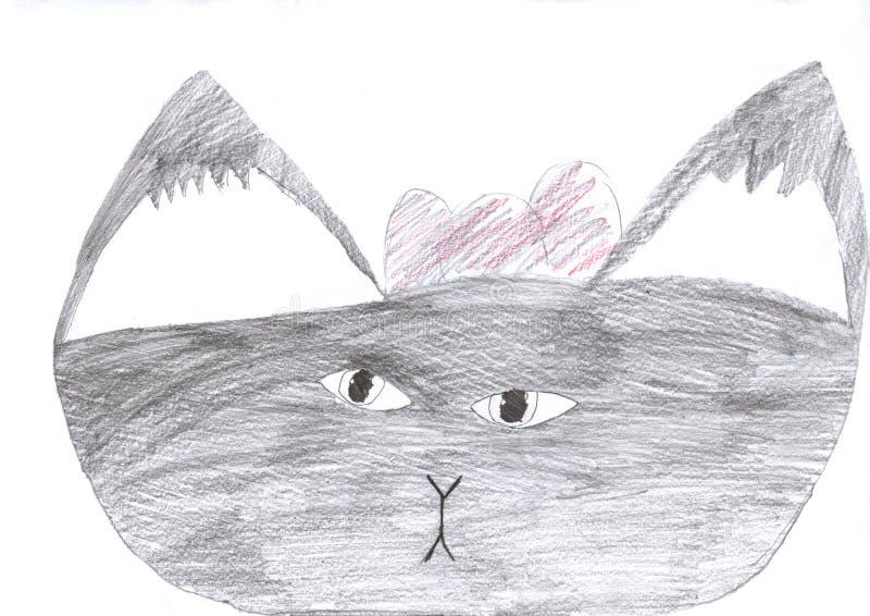 Desenho da criança de um desenho de lápis cinzento do gato bonito isolado no branco ilustração royalty free