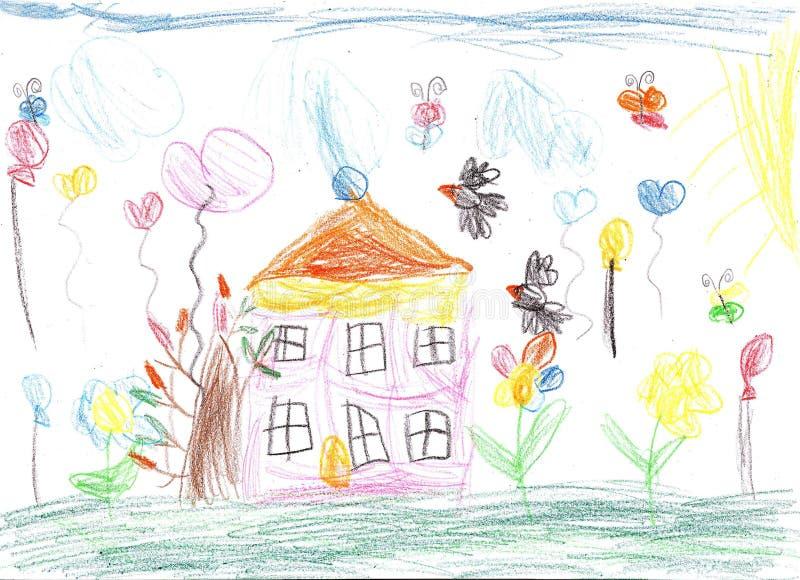 Desenho da criança de uma casa ilustração royalty free