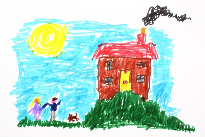 Desenho da criança de uma casa ilustração stock