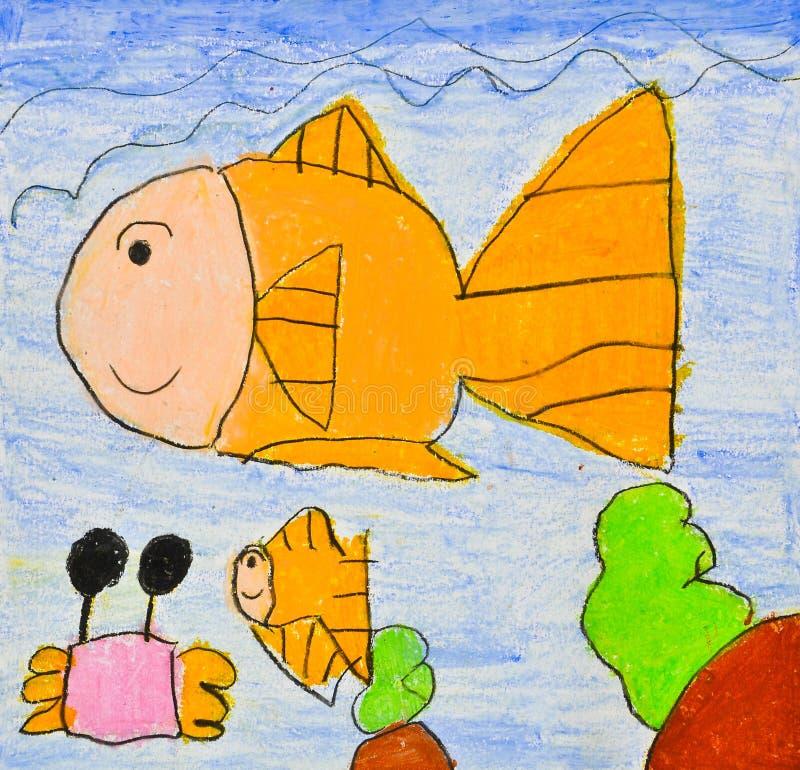 Desenho da criança do mundo do mar ilustração stock