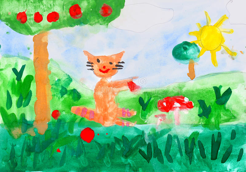 Desenho da criança no papel ilustração do vetor