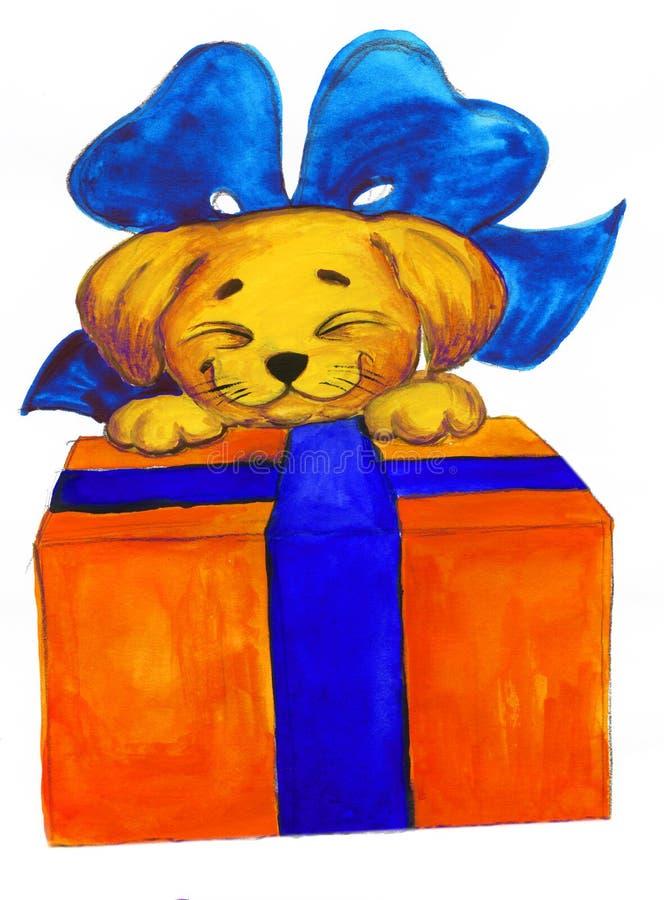 Desenho da curva da caixa de presentes do Doggy ilustração do vetor