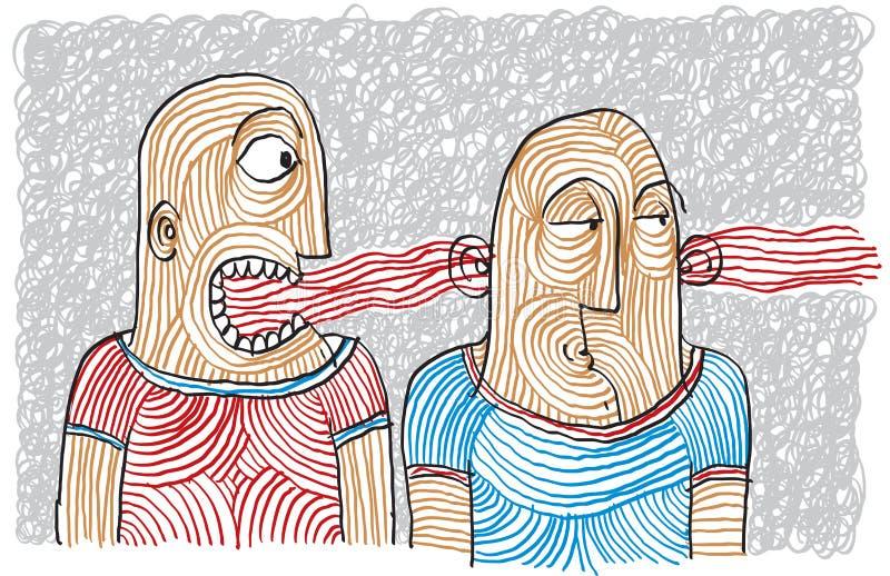 Desenho da disputa de duas pessoas Temperamentos diferentes, coléricas ilustração stock
