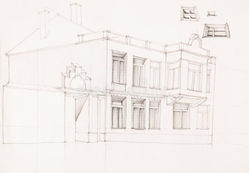Desenho da fachada velha da casa ilustração stock