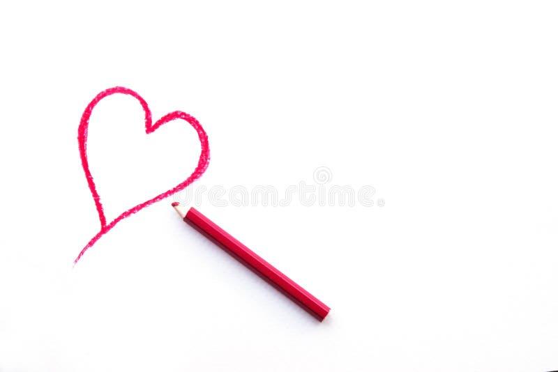 Desenho da forma do coração no Livro Branco imagem de stock