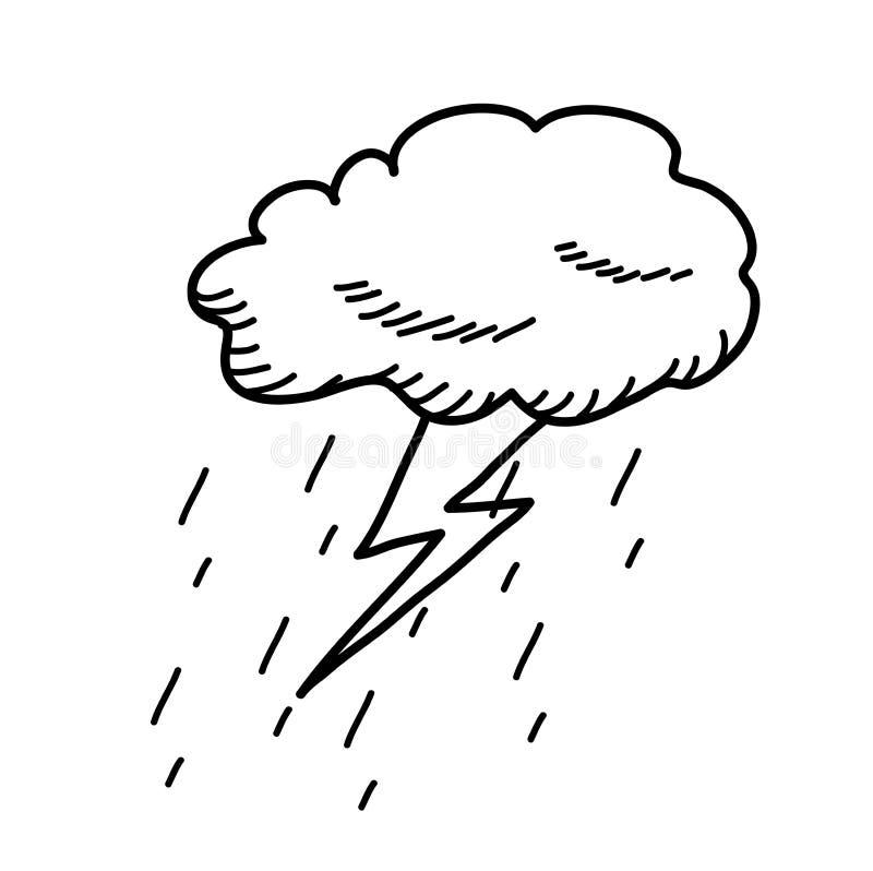 Desenho da garatuja da nuvem do temporal ilustração royalty free