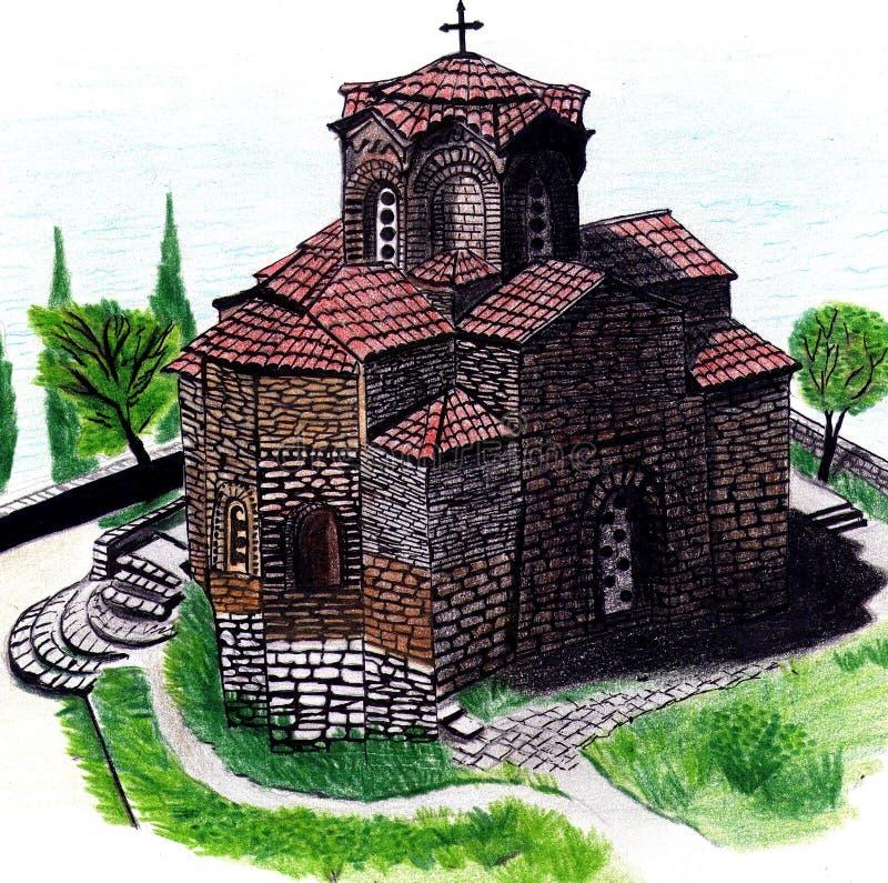Desenho da igreja colorido imagem de stock