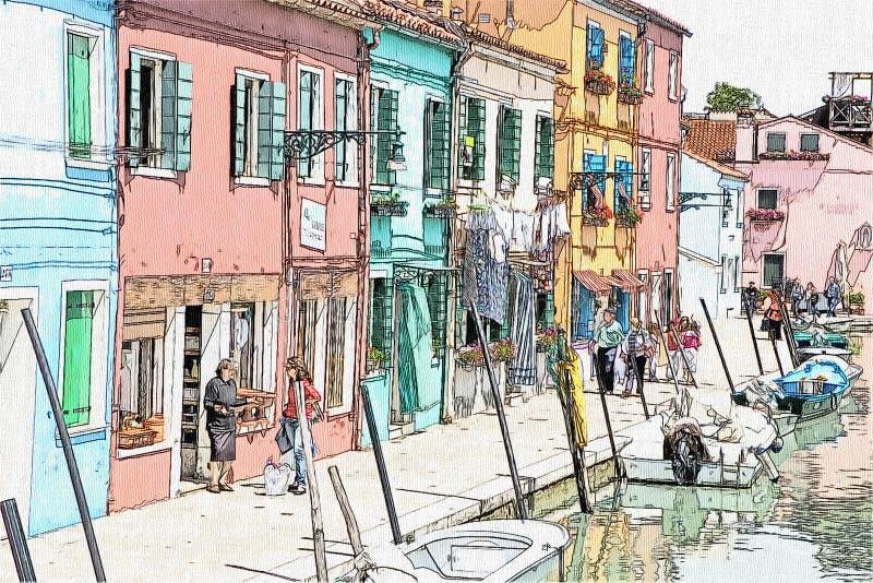 Desenho da ilha de Burano, Veneza, Itália ilustração stock