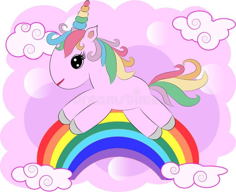 Desenho da ilustração do vetor do unicórnio com o sonhador da escrita do arco-íris Desenhos animados do unicórnio \ 'da cabeça de ilustração royalty free