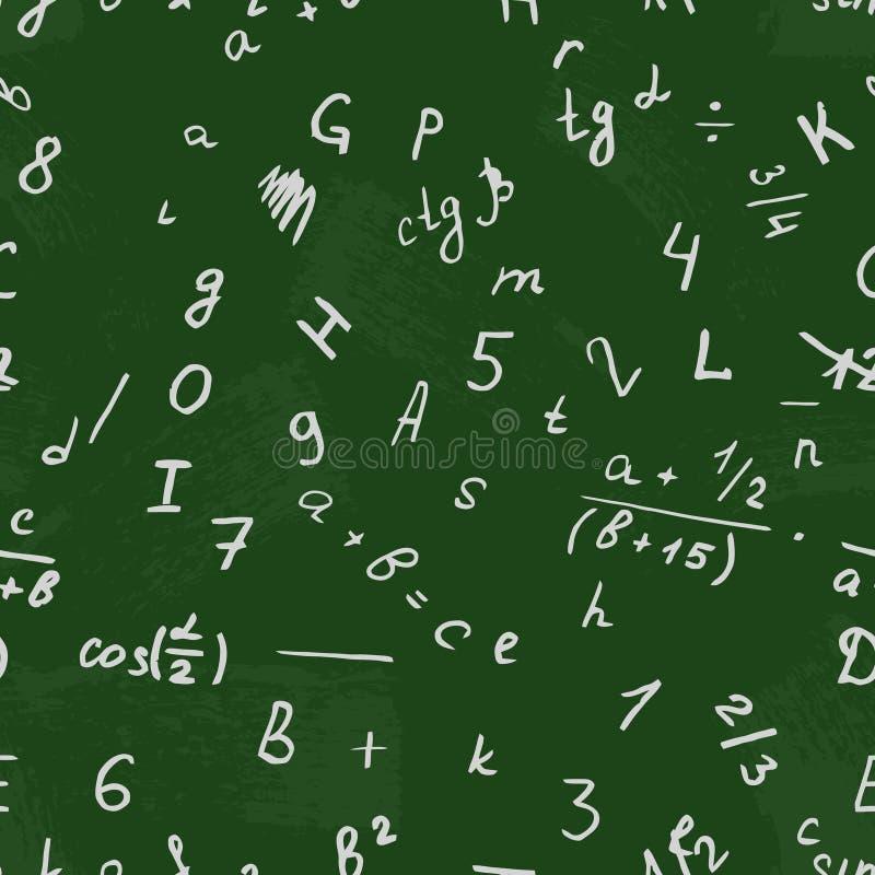Desenho da letra em um quadro-negro Vetor do alfabeto Número e texto Escola sem emenda do fundo do teste padrão ilustração stock