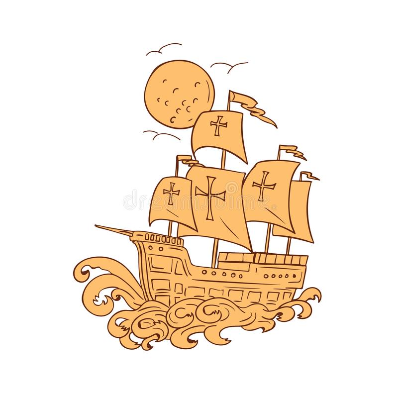 Desenho da lua do navio de navigação de Caravel ilustração stock