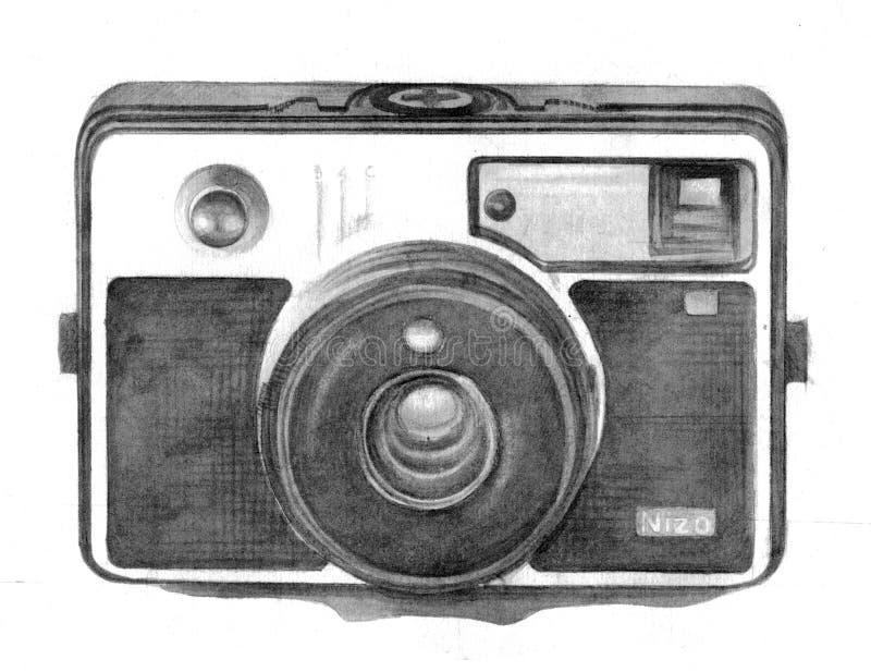 Desenho da mão da câmera do vintage ilustração stock