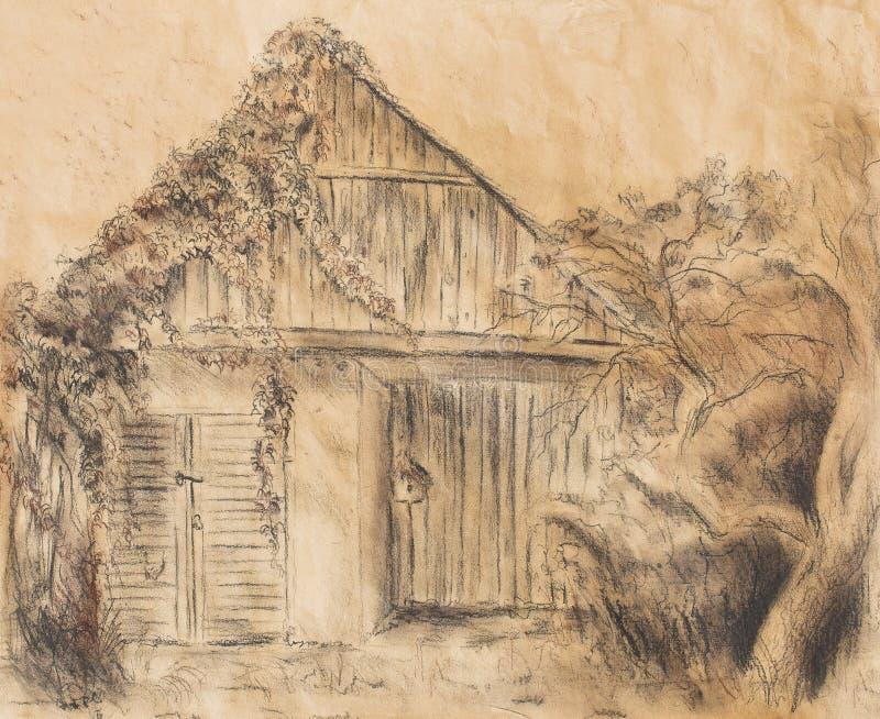 Desenho da mão da casa de campo e vinha selvagem Draving no papel velho ilustração royalty free