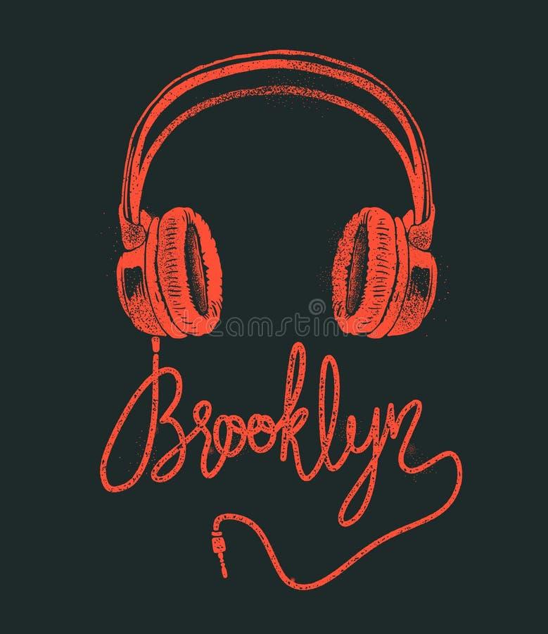 Desenho da mão de Brooklyn do fones de ouvido, ilustração do vetor do grunge ilustração do vetor