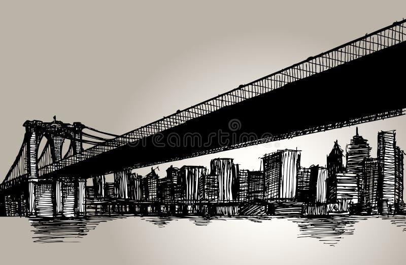 Desenho da mão de ponte de New York Brooklyn ilustração stock