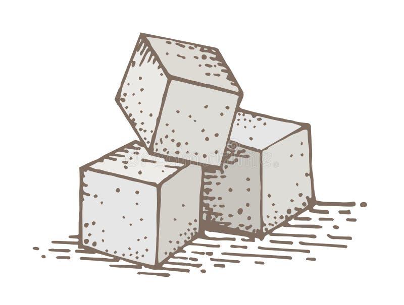 Desenho da mão do cubo do açúcar ilustração do vetor