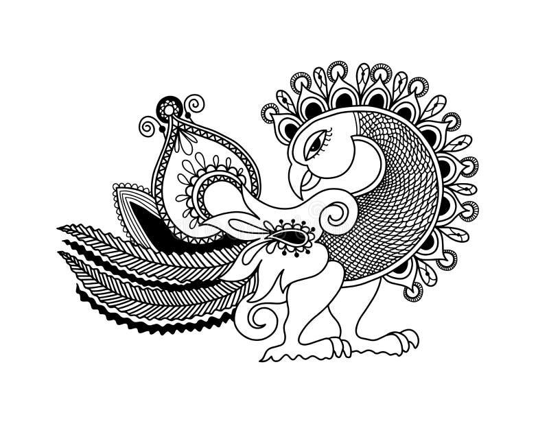 Desenho da mão do esboço do pássaro do pavão de paisley, kalamkari indiano da tradição ilustração royalty free