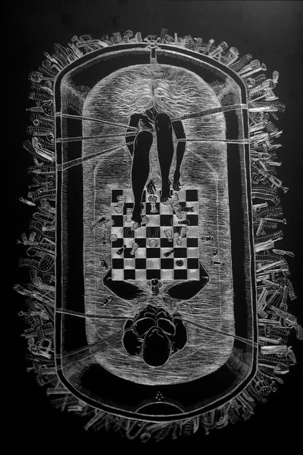 Desenho da mão do giz ilustração do vetor
