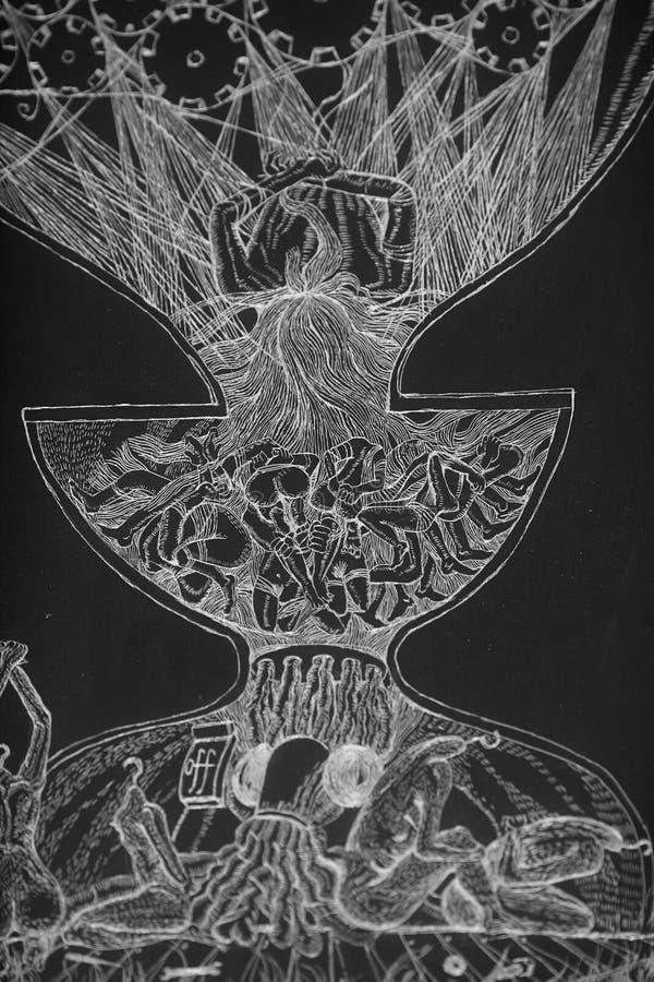 Desenho da mão do giz ilustração royalty free
