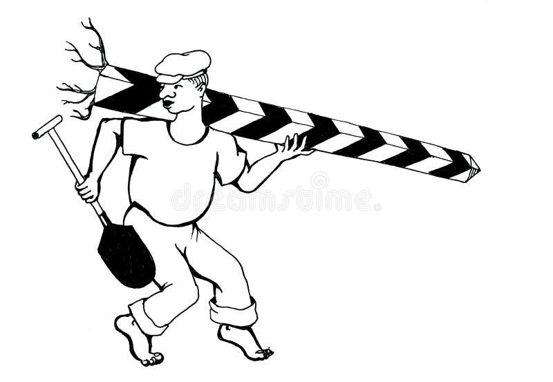 Desenho da mão do homem que rouba a coluna do limite ilustração stock