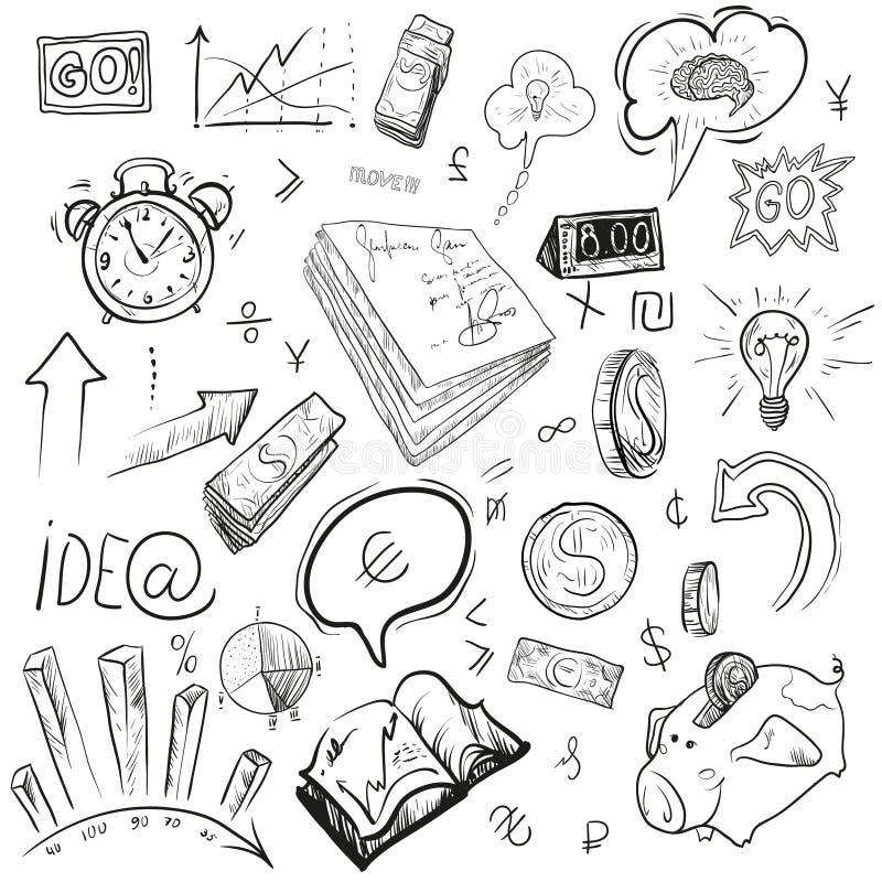 Desenho da mão do negócio, ilustrações do vetor fotografia de stock royalty free