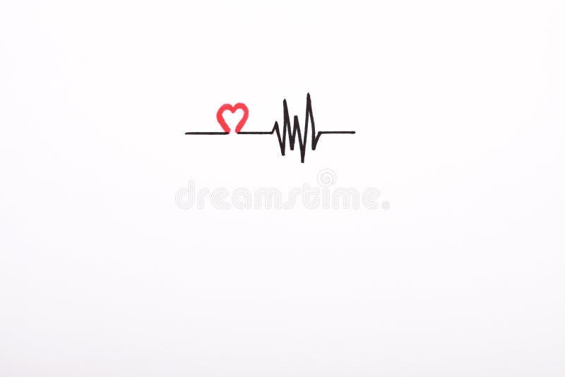 Desenho da mão do ritmo do coração, eletrocardiograma, linha conceito do pulso do batimento cardíaco no Livro Branco ilustração stock