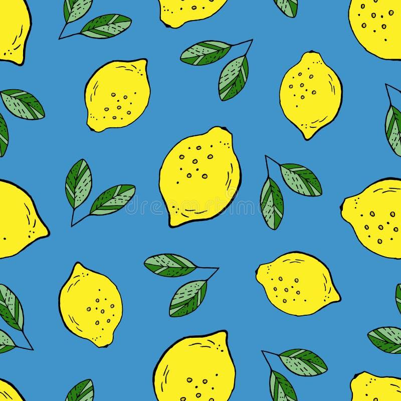 Desenho da mão do teste padrão do limão ilustração royalty free