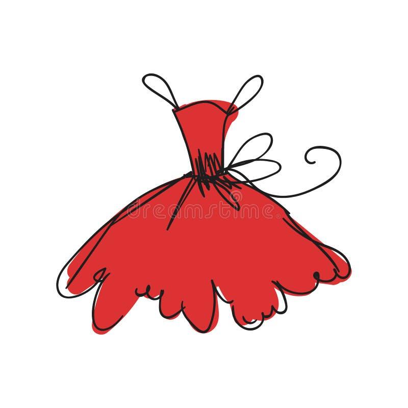 Desenho da mão do vestido de bola ilustração stock