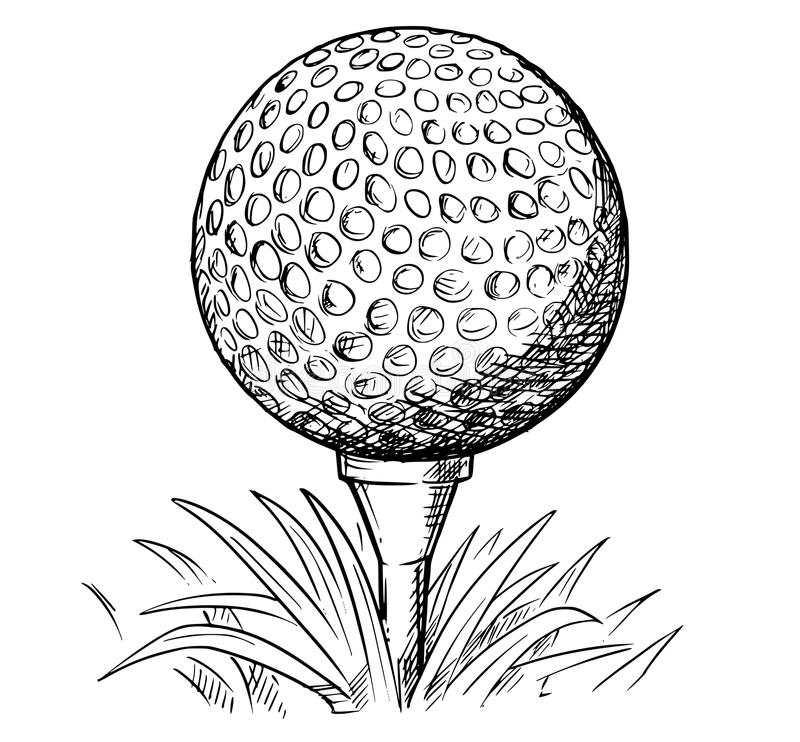 Desenho da mão do vetor da bola de golfe no T ilustração do vetor
