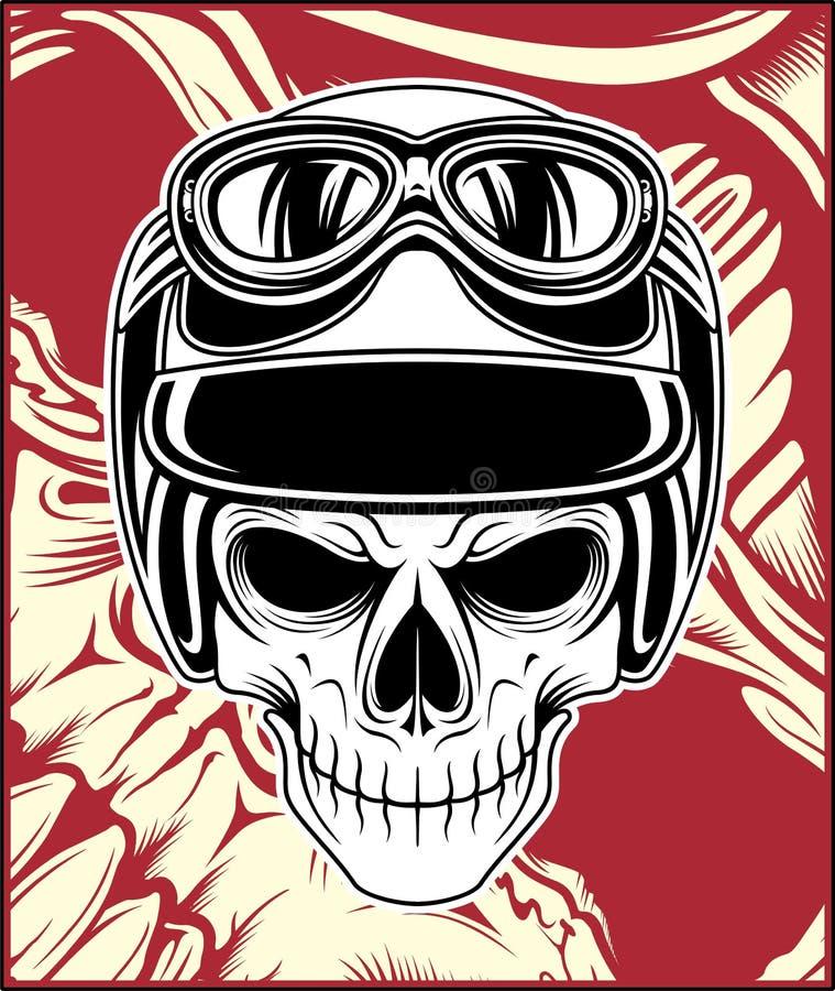 Desenho da mão do vetor do capacete do crânio ilustração royalty free